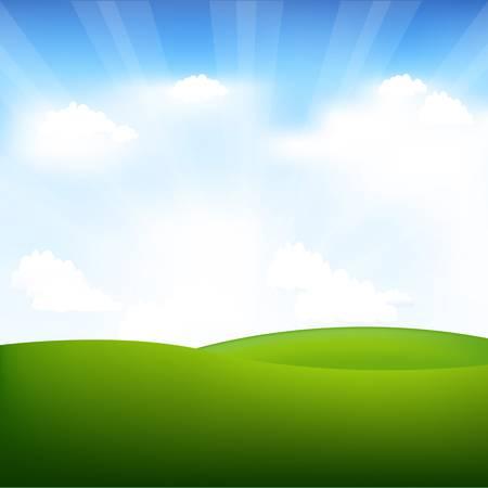 prato e cielo: Paesaggio con travi a vista. Vettoriali