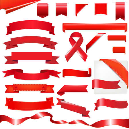 tape line: Red Ribbons Set, Isolated On White Background. Illustration