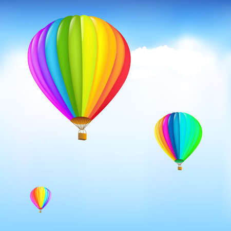 aeronautical: 3 Colorful Hot Air Balloons, Vector Illustration