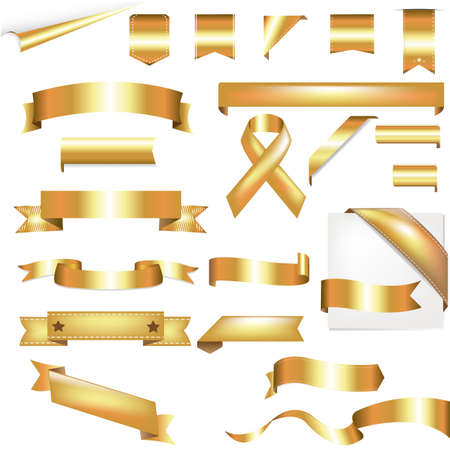 gold background: Gold Set, Isolated On White Background, Vector Illustration
