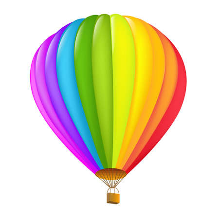 airship: Colorful Hot Air Balloon, Isolated On White Background, Vector Illustration