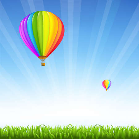 airship: Grass And Two Hot Air Balloons Illustration