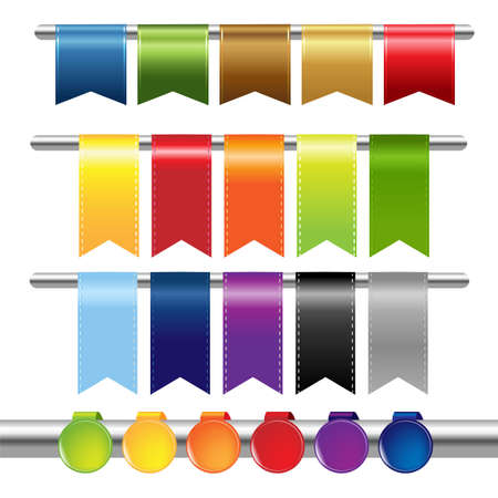 knop: Kleur Web Linten, Geà ¯ soleerd Op Witte Achtergrond Stock Illustratie
