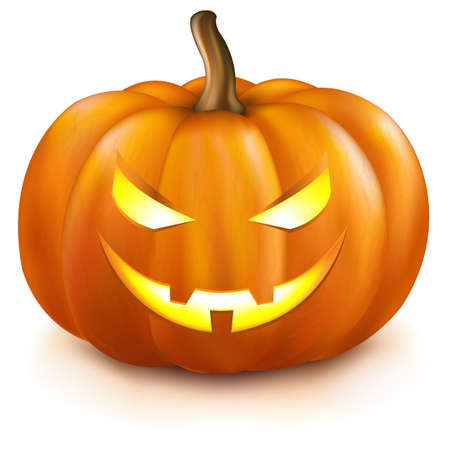 nightmarish: Pumpkin, Isolated On White Background