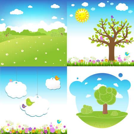 paysage dessin anim�: 4 Paysage Cartoon Set Illustration