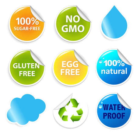 Eco Symbols Eco Labels Set, Isolated On White Background. Vector