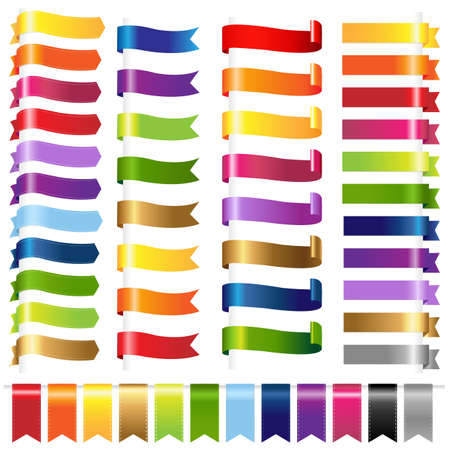 Color Set Web Ribbons, Isolated On White Background. Vector