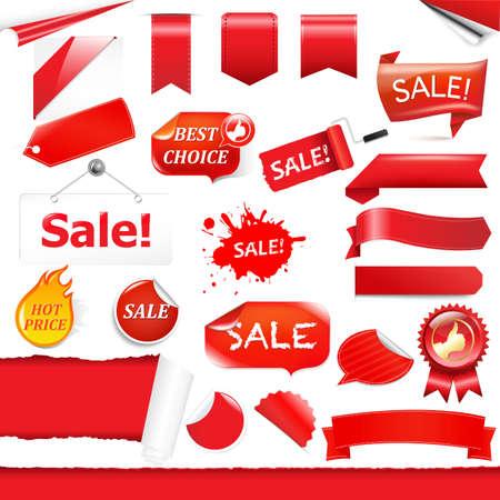 fragmentary: Etiquetas Rojo y configura Cintas, aislado en fondo blanco.