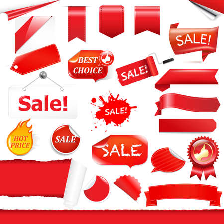 Red Labels And Ribbons Set, Isolated On White Background. Vector
