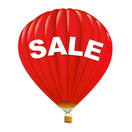Red Sale Hot Air Balloons, Isolated On White Background. Vector