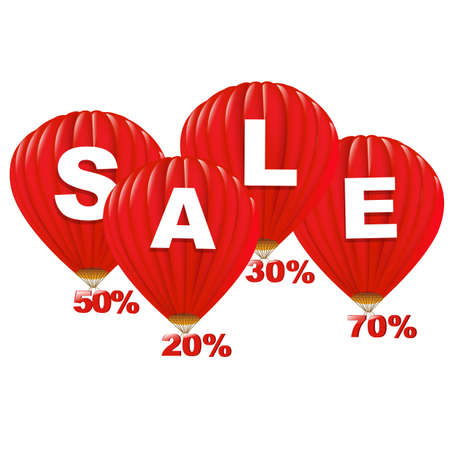 hot sale: Sale Red Hot Air Balloons, Isolated On White Background.
