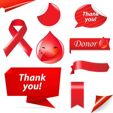 erythrocyte: Blood Donation Set, Isolated On White Background, Vector Illustration Illustration