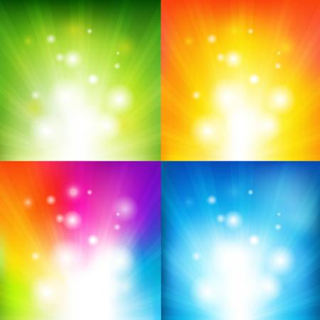 4 Color Backgrounds With Beams, Vector Illustration Vector