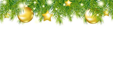 spar: Green New Year Garland, Geà ¯ soleerd Op Witte Achtergrond, Vector Illustratie