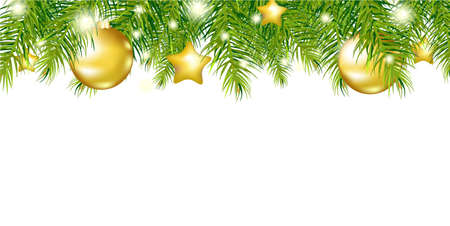christmas fir: Green New Year Garland, Isolated On White Background, Vector Illustration