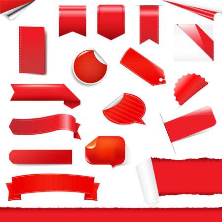 fragmentary: Las etiquetas roja y se ponga pegatinas, aislados en fondo blanco, ilustraci�n vectorial