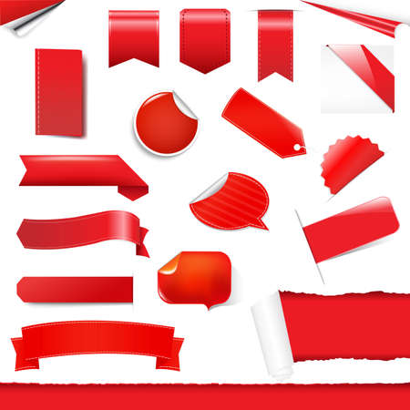 Red Labels And Stickers Set, Isolated On White Background, Vector Illustration Vector