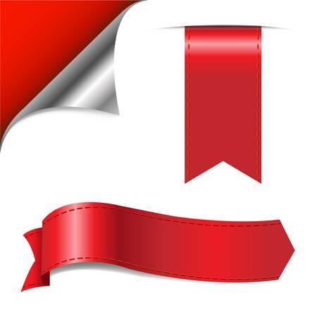 nastro angolo: Angolo Rosso E Nastri, isolato su sfondo bianco, illustrazione vettoriale