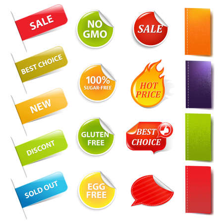 Sale Stickers And Labels, Isolated On White Background, Vector Illustration  Illustration