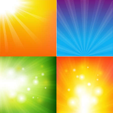 4 Abstract Color Sunburst Backgrounds, Vector Illustration  Vector