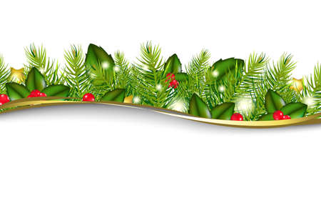 christmas border: Merry Christmas Wreath, Isolated On White Background, Vector Illustration