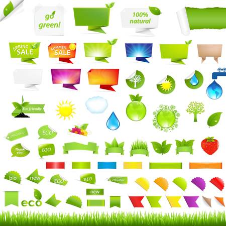Eco Collection Design Elements, Isolated On White Background, Vector Illustration  Illustration