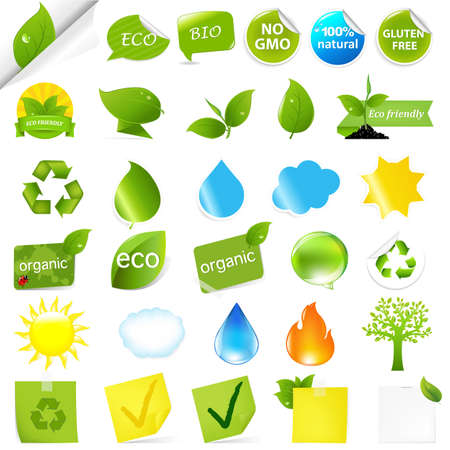 Eco Symbols Set, Isolated On White Background, Vector Illustration  Vector