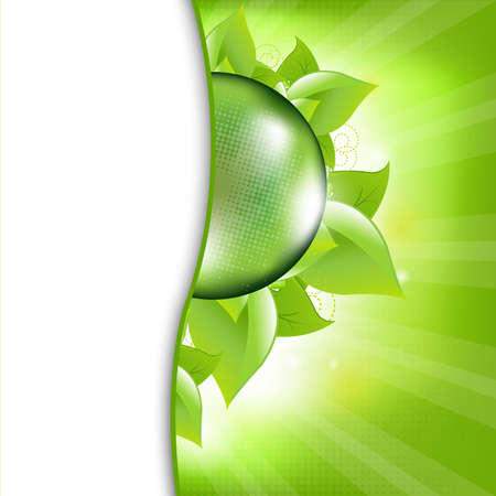 liquid crystal: Green Eco Background With Leafs And Globe, Vector Illustration