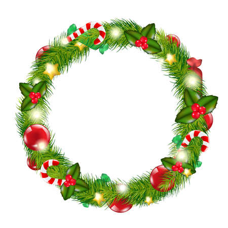 Merry Christmas Wreath, Isolated On White Background, Vector Illustration Vector