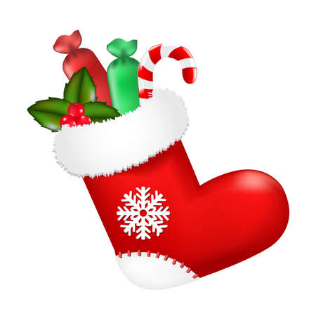 Red Christmas Sock With Presents, Vector Illustration