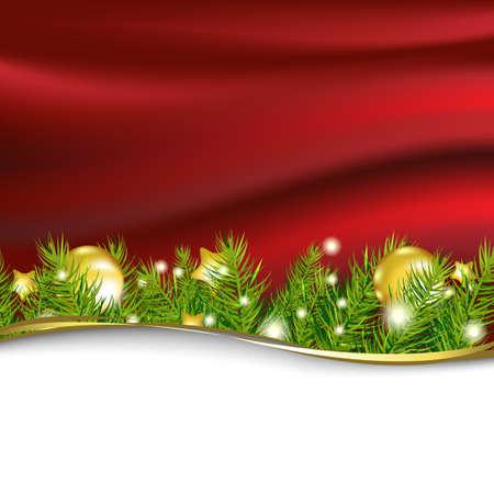 Red New Year Card Mit Garland, Vektor-Illustration Vektorgrafik