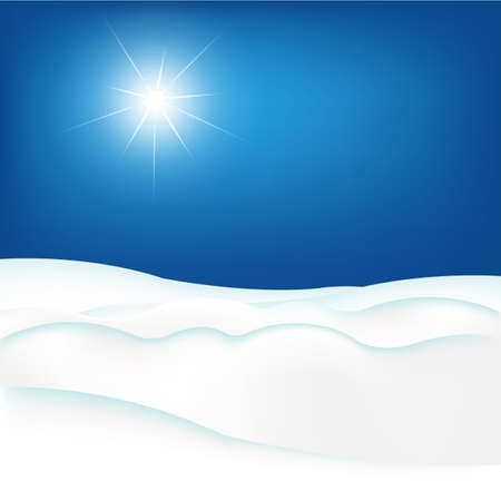 snow field: Snow Hill And Blue Sky, Vector Illustration