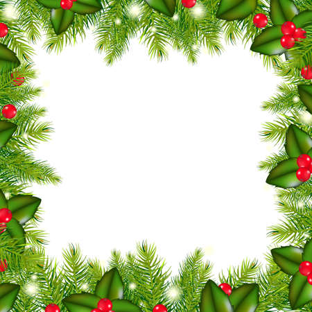 bolas de nieve: Invierno frontera con �rbol de Navidad y Holly Berry, aisladas sobre fondo blanco, ilustraci�n vectorial