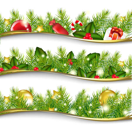 christmas garland: 3 Christmas Garlands, Vector Illustration