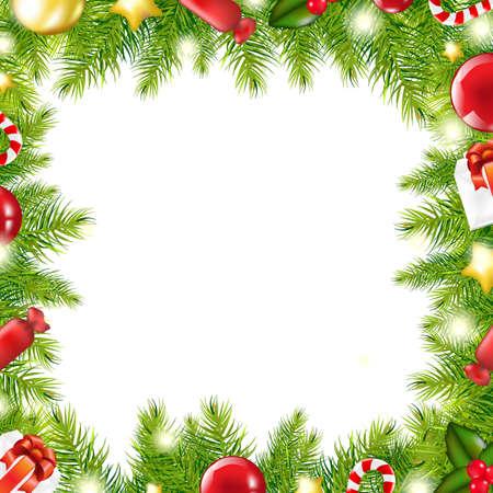 december calendar: Christmas Tree Border, Vector Illustration