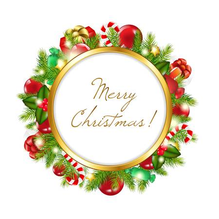 christmas party people: Merry Christmas Frame, Vector Illustration