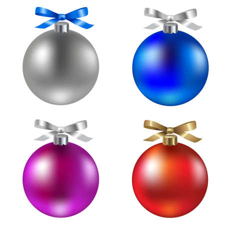 4 Christmas Ball, Isolated On White Background, Vector Illustration  Vector