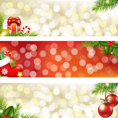 3 Christmas Banners, Vector Illustration Vector