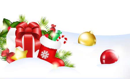 socks: Christmas Template, Vector Illustration