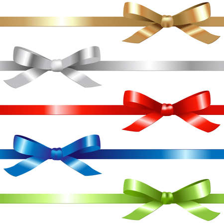 5 Ribbons,  Isolated On White Background, Vector Illustration  Illustration