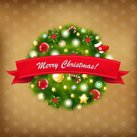 Merry Christmas Vintage Composition, Vector Illustration Vector