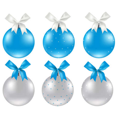Christmas Silver And Blue Ball, Vector Illustration Vector
