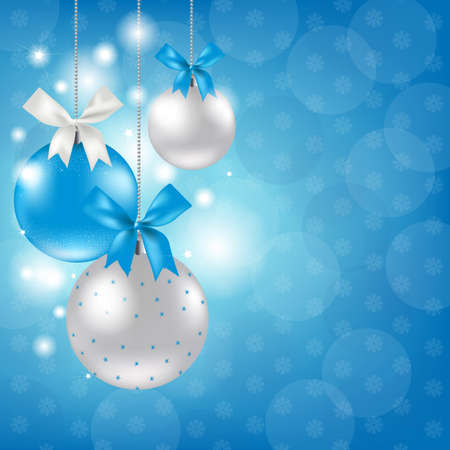 Merry Christmas Silver And Blue Composition, Vector Illustration Illustration