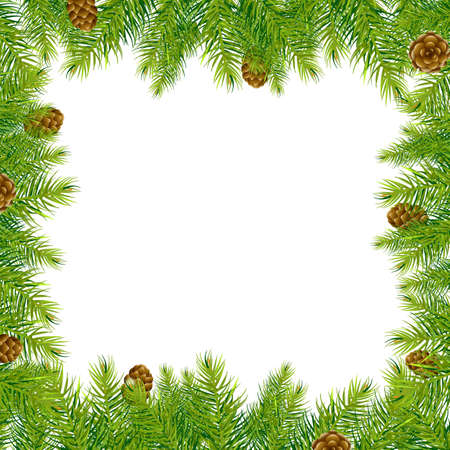 Border With Christmas Tree And Pine Cone, Vector Illustration
