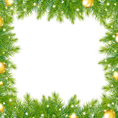 Border With Christmas Tree And Gold Ball, Vector Illustration Vector