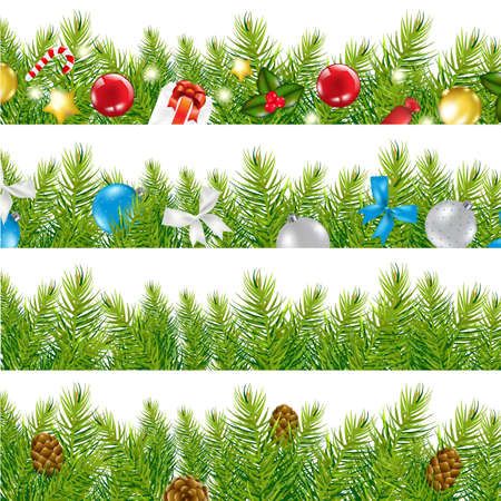 4 Border With Christmas Tree Set, Isolated On White Background, Vector Illustration  Illustration