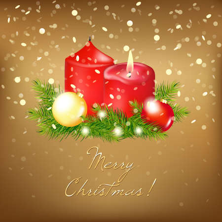 Gold Christmas Card, Illustration  Vector