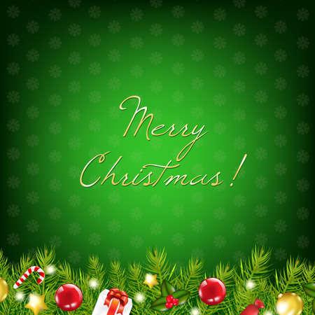 Green Christmas Card, Illustration  Vector