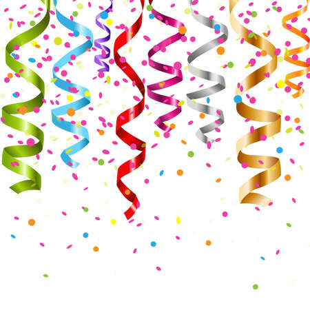 serpentinas: Multicolor Curling Stream, aislados en fondo blanco, ilustración Vectores