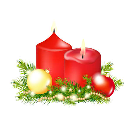 christmas fur tree: 2 Red Christmas Candle, Isolated On White Background, Illustration  Illustration